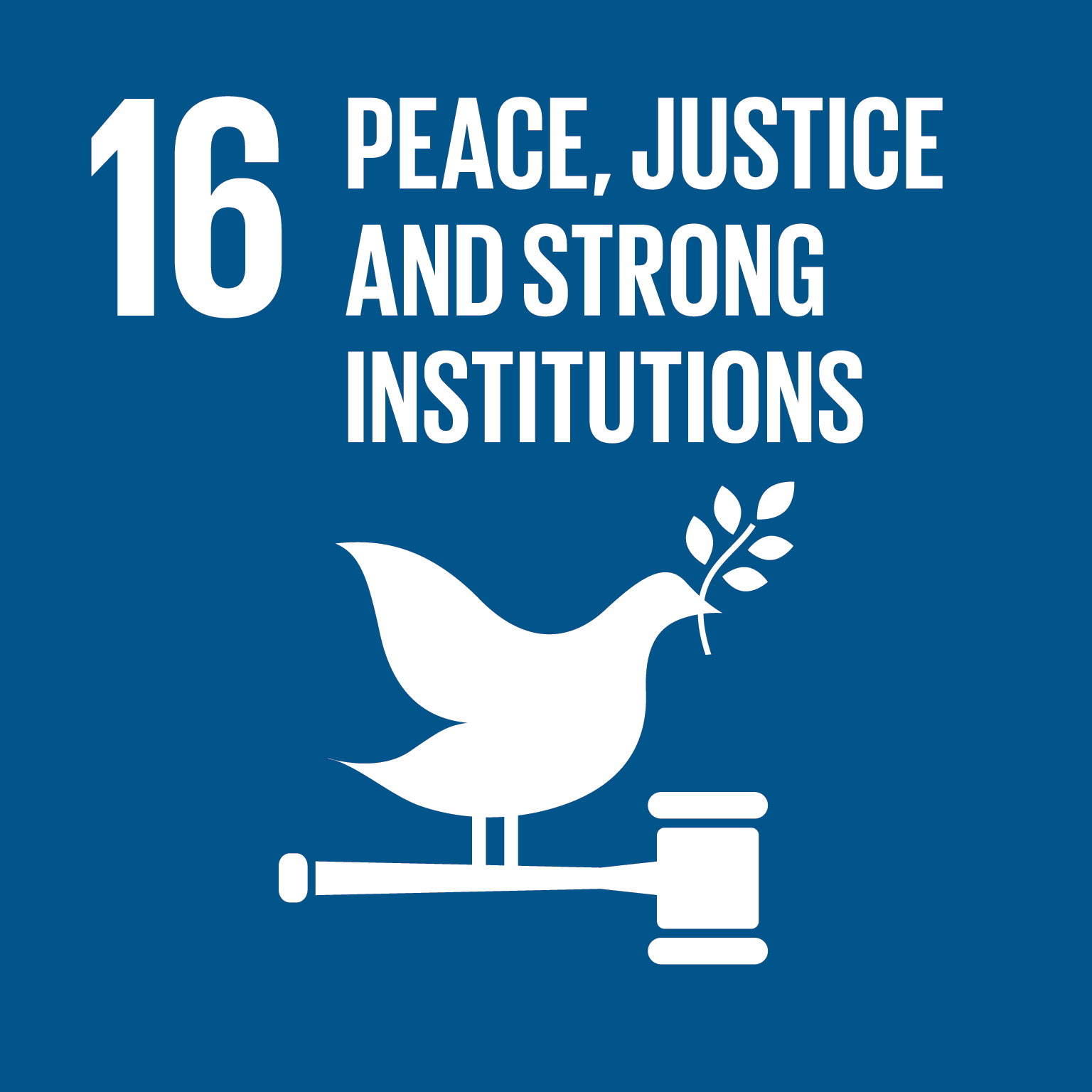 Peace, justice and strong institutions logo.