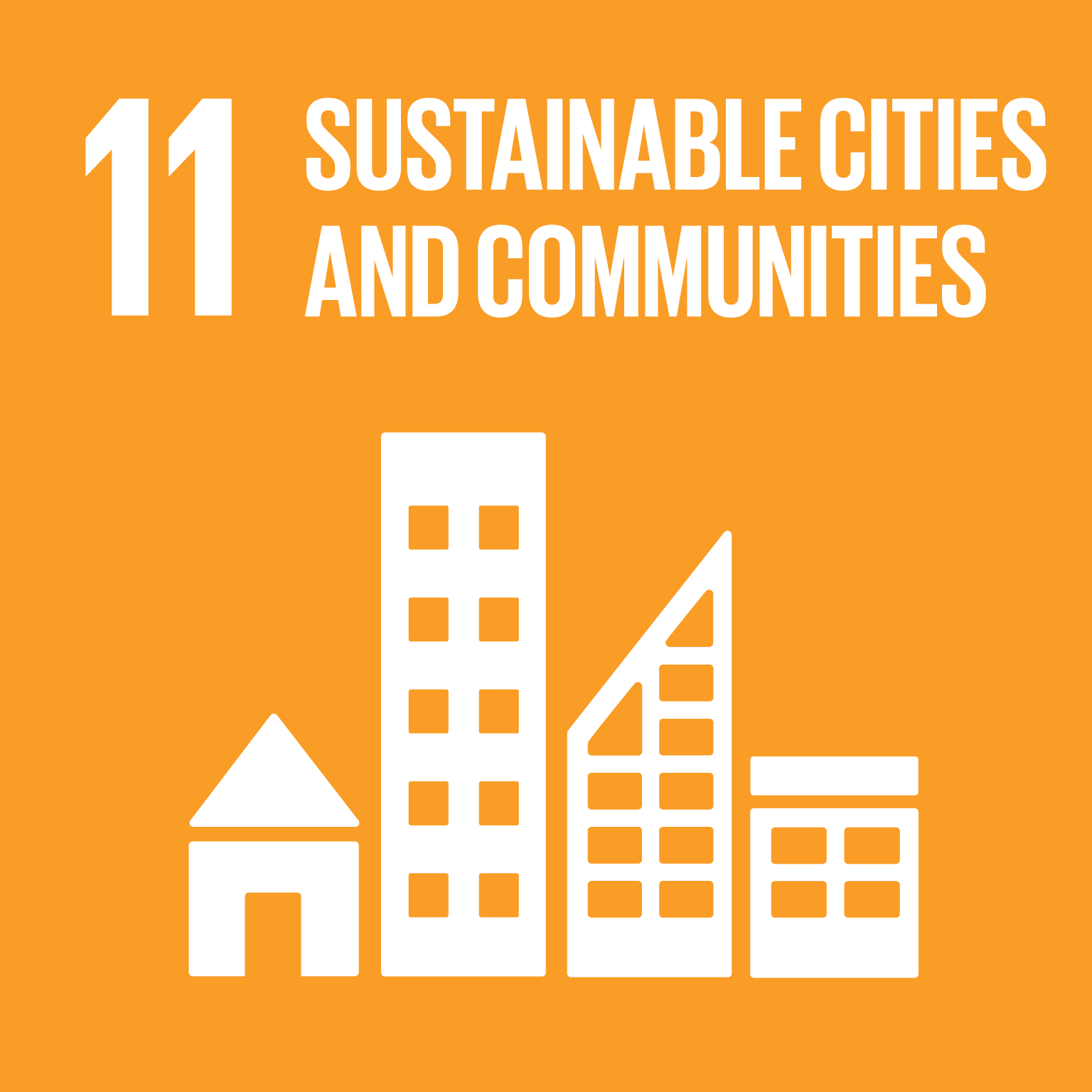 Sustainable cities and communities logo.